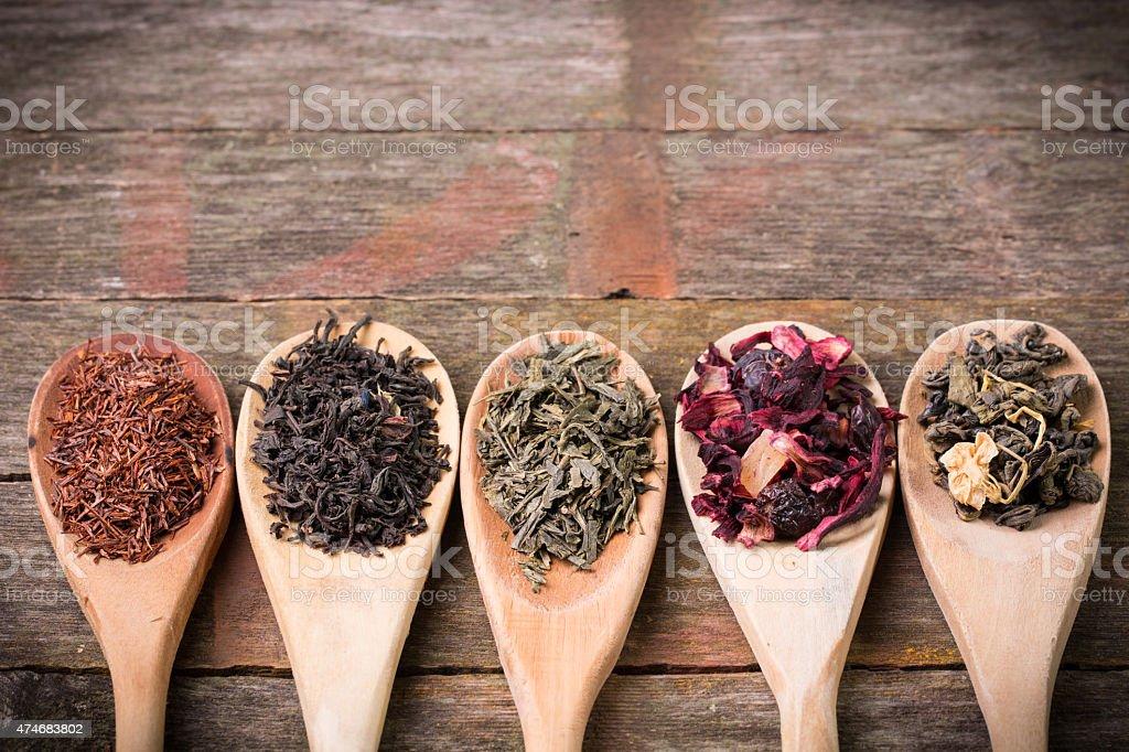 assortment of dry tea stock photo