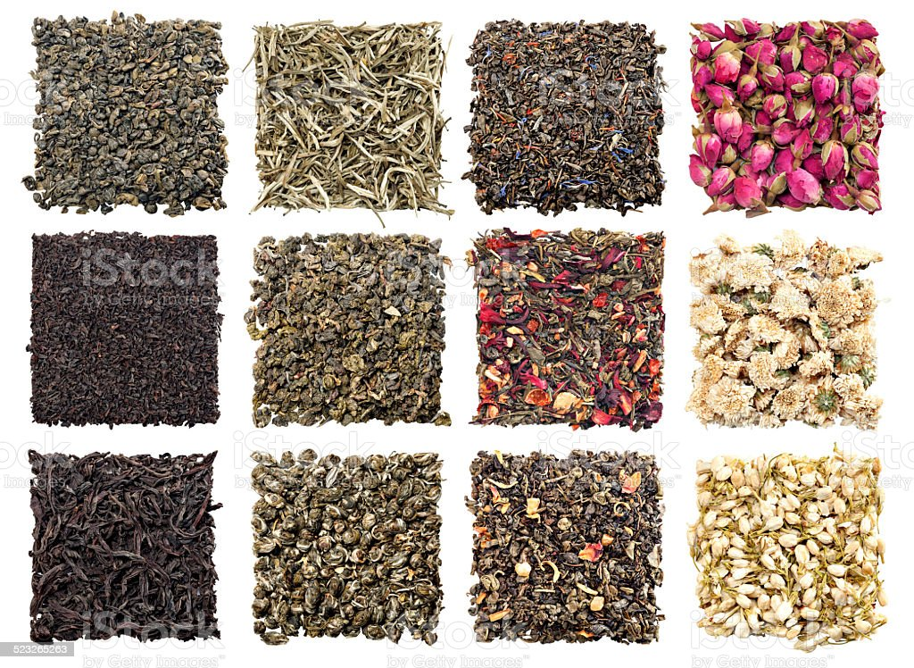 assortment of dry tea stock photo