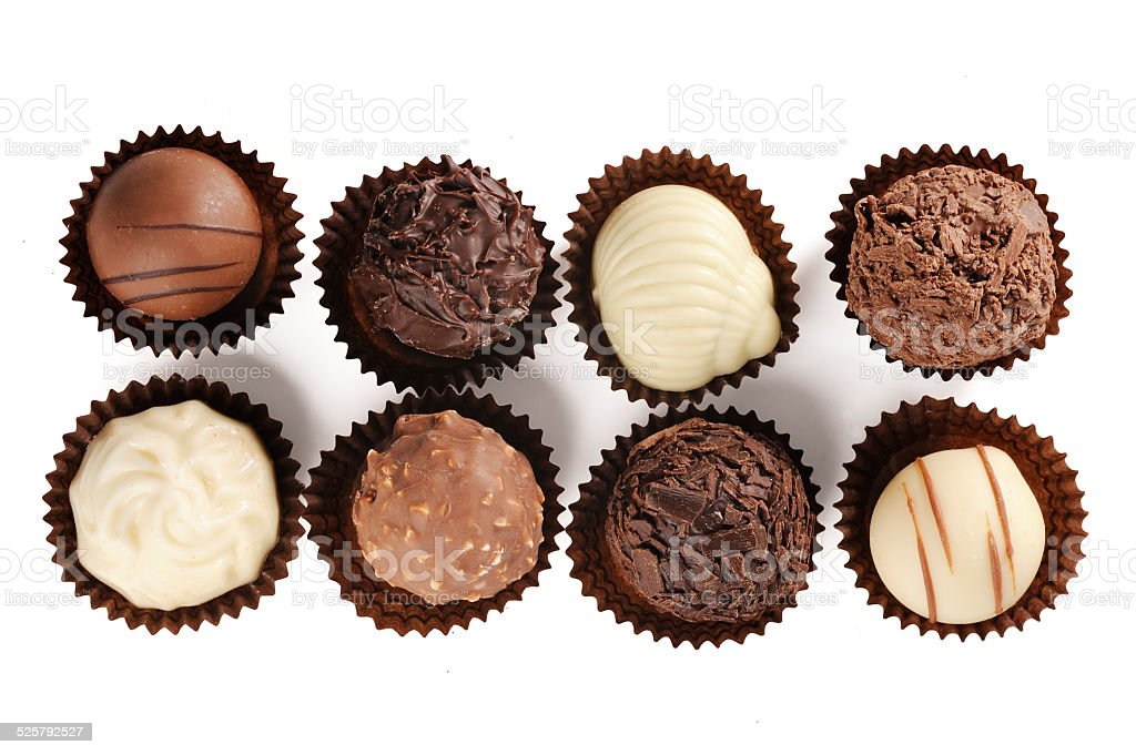 assortment of fine chocolates stock photo
