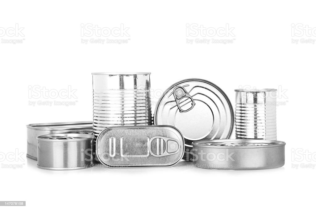 Assortment of food tin can stock photo