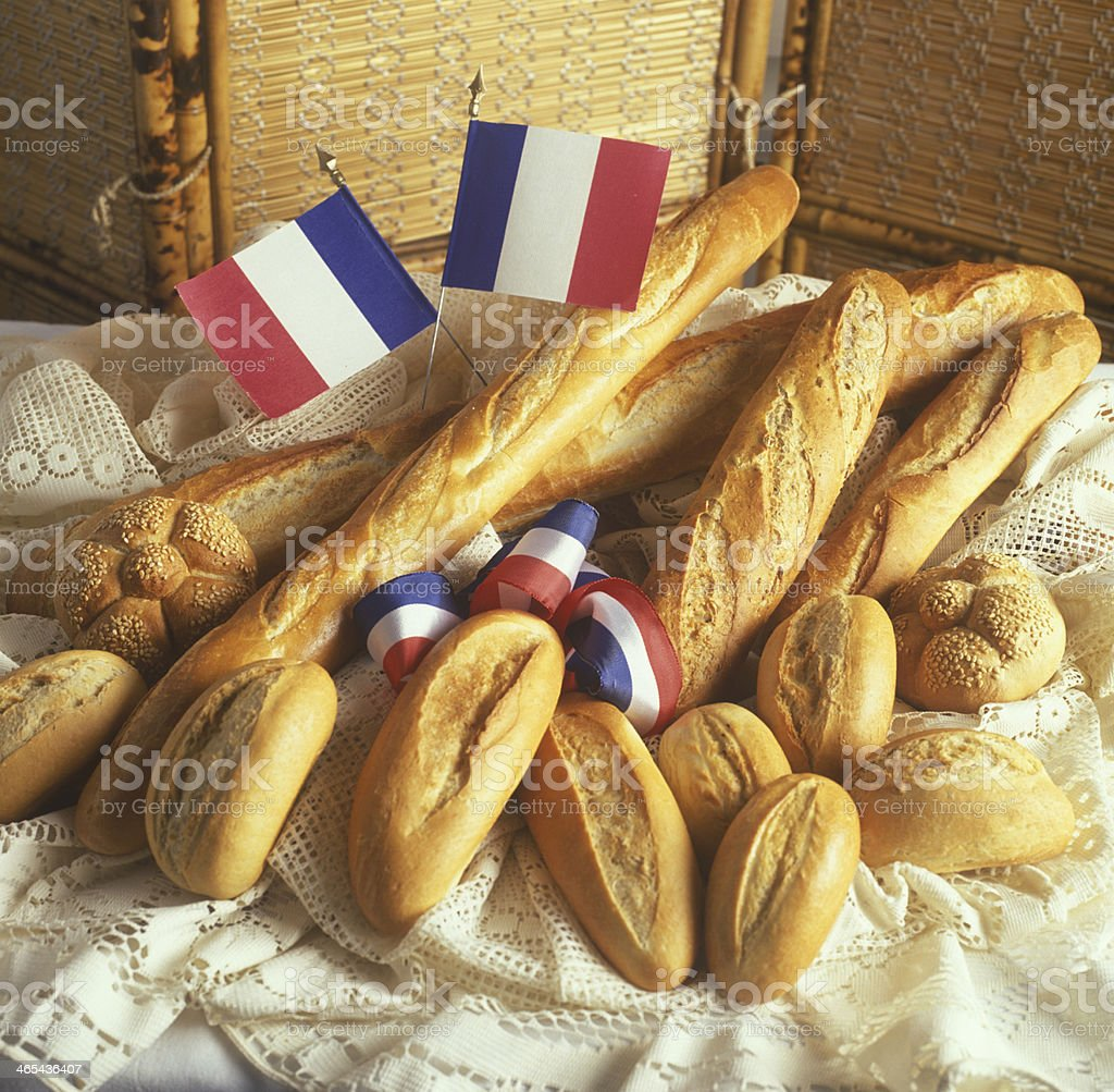 Assortment of French Breads and Bakery Products stock photo