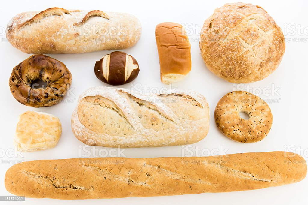 assortment of fresh baked breads stock photo