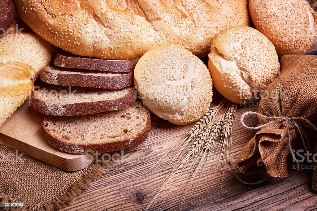 Assortment of fresh bread stock photo