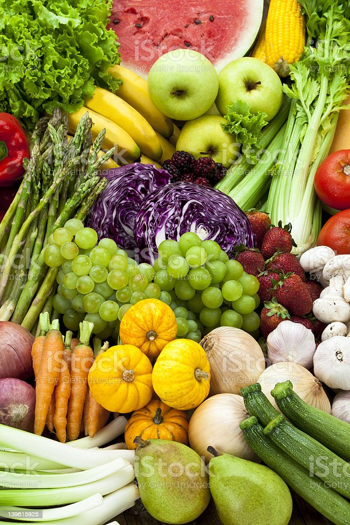 Assortment of fresh fruits and vegetables stock photo