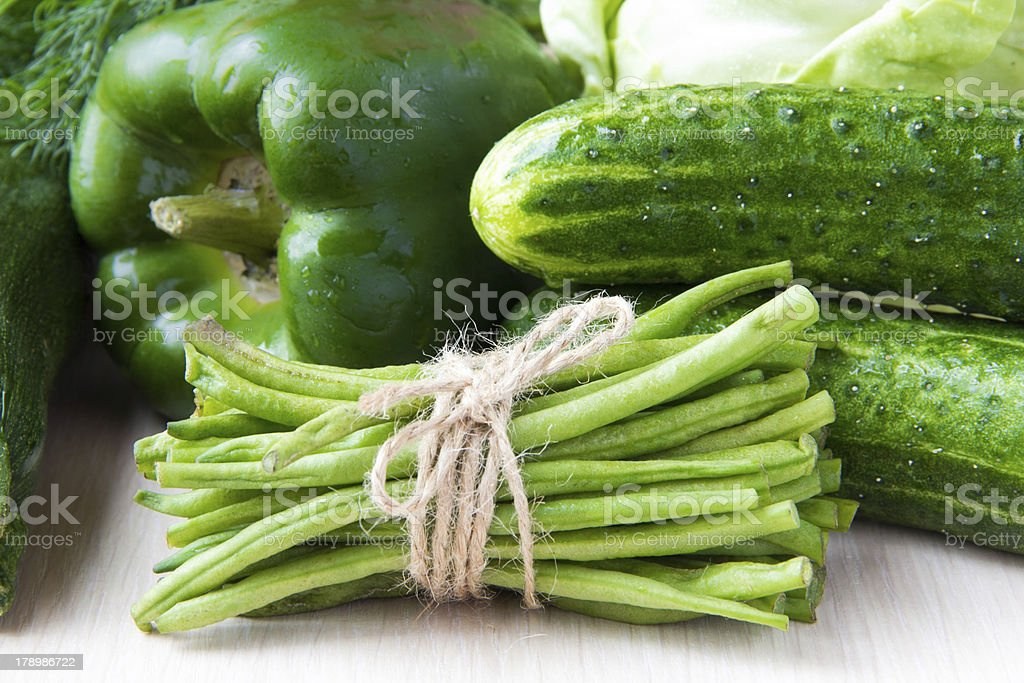 Assortment of fresh green vegetables for health royalty-free stock photo