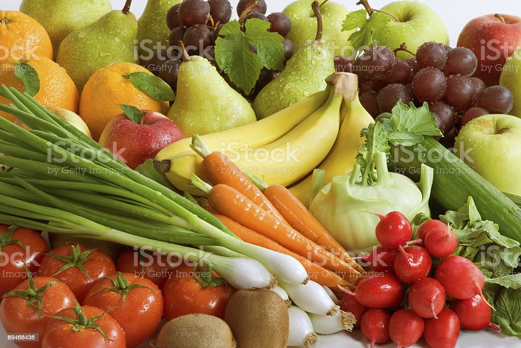 Assortment of fresh vegetables and fruit stock photo