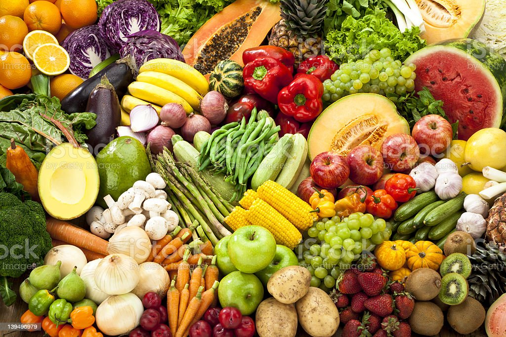 Assortment of Fruits and Vegetables Background. stock photo