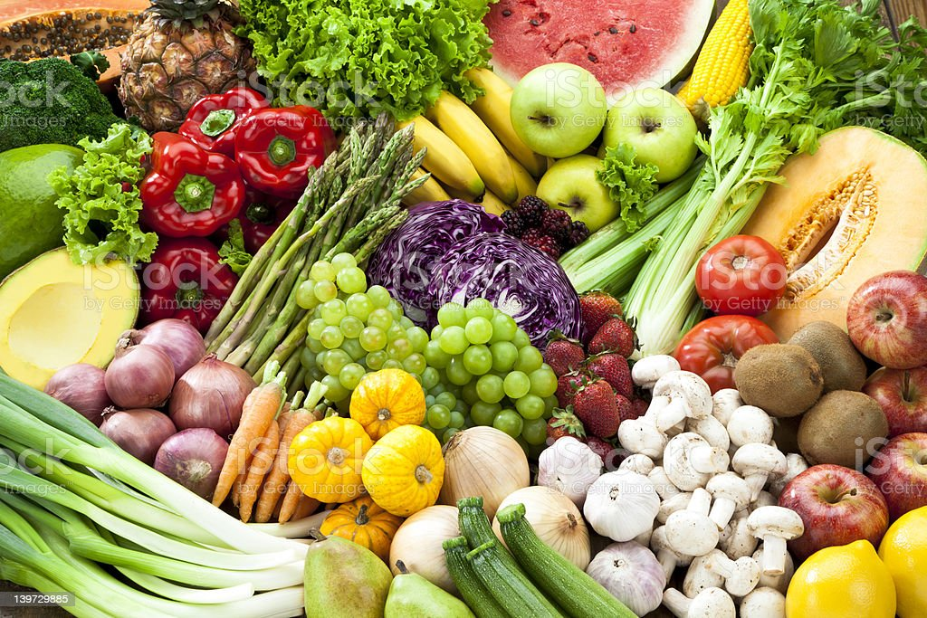 Assortment of Fruits and Vegetables Background. royalty-free stock photo