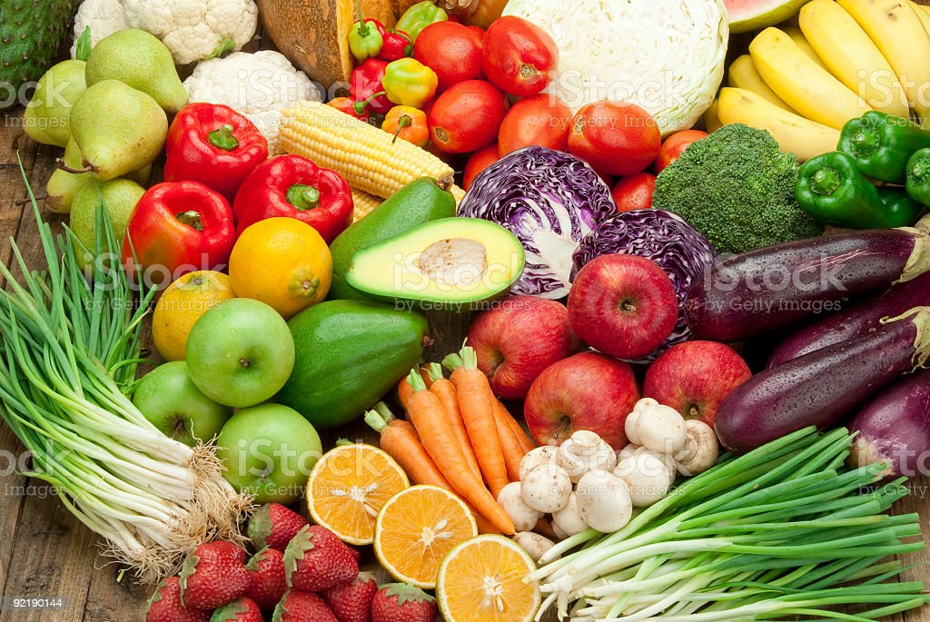 Assortment of fruits and veggies shoot from above stock photo