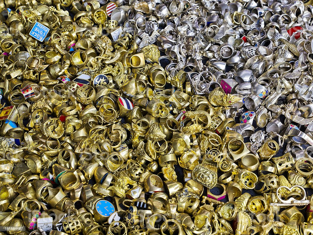 Assortment of Gold and Silver Colored Rings royalty-free stock photo