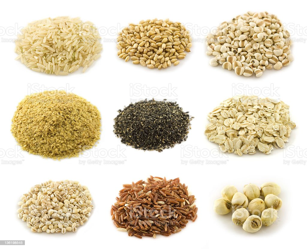 Assortment of grains - Rice, Oat flake, isolated on white stock photo