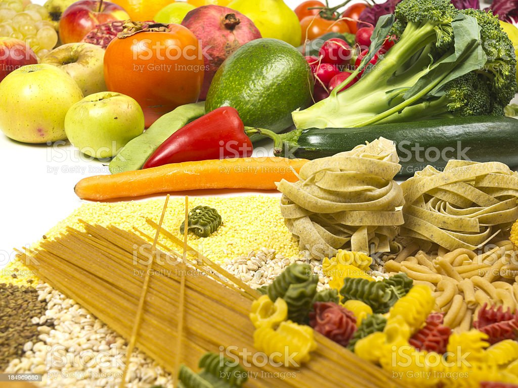 Assortment of healthy vegetables and pasta. stock photo