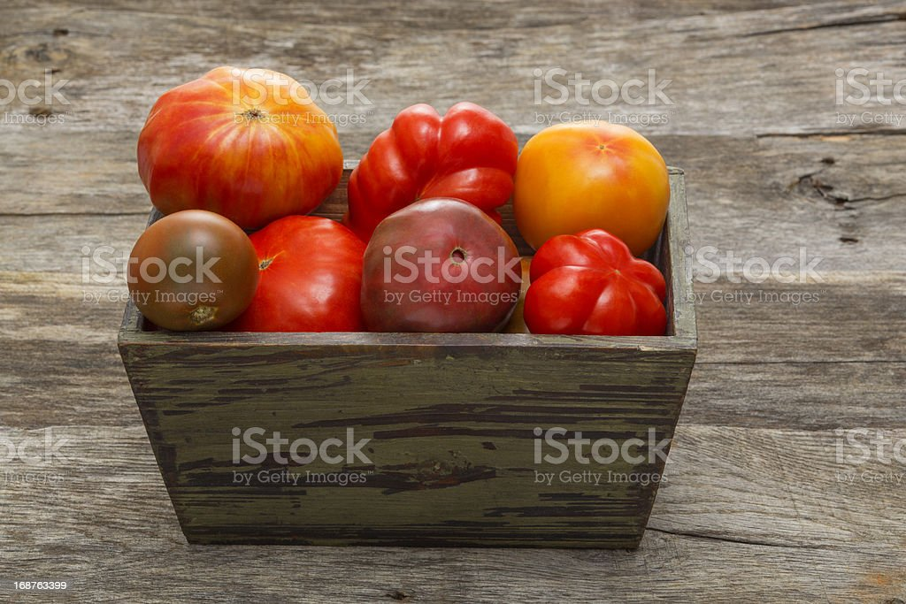 Assortment of Heirloom Tomatoes in Green Wooden Box royalty-free stock photo