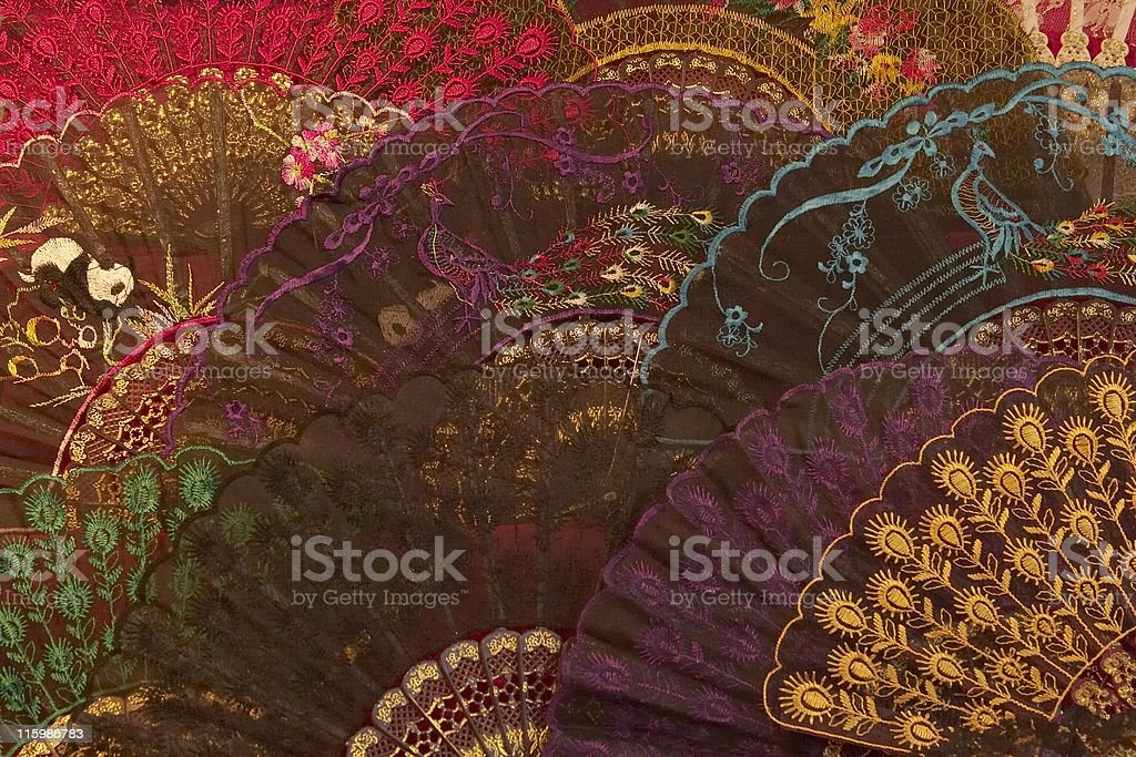 Assortment of Lace Fans, Womens Accessory, Fancy, Delicate, Colorful royalty-free stock photo