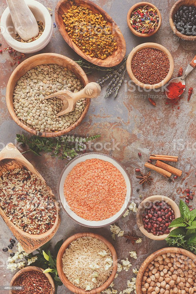 Assortment of legumes, grain and seeds stock photo
