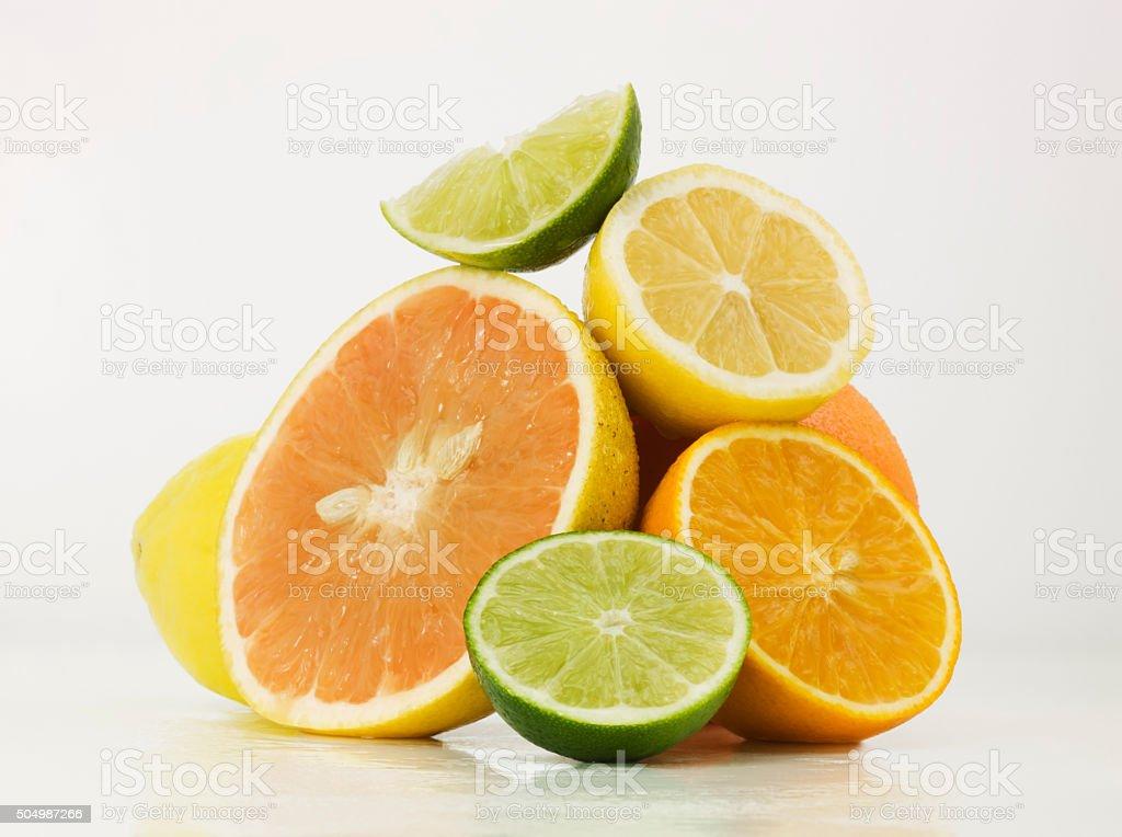Assortment of limes, lemons, grapefruit and oranges stock photo