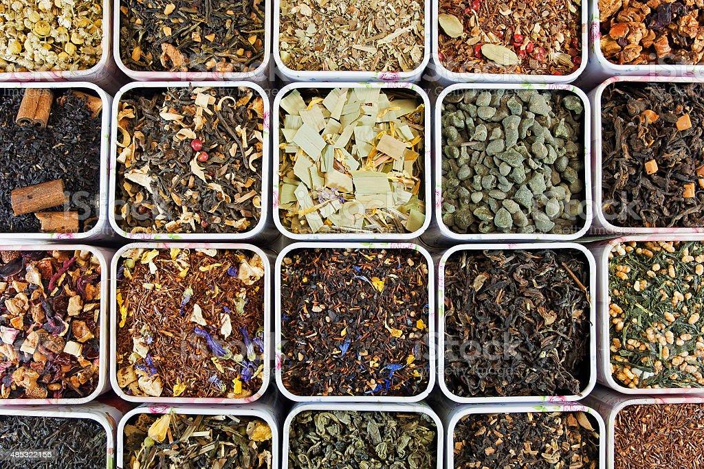 Assortment of loose leaf tea stock photo