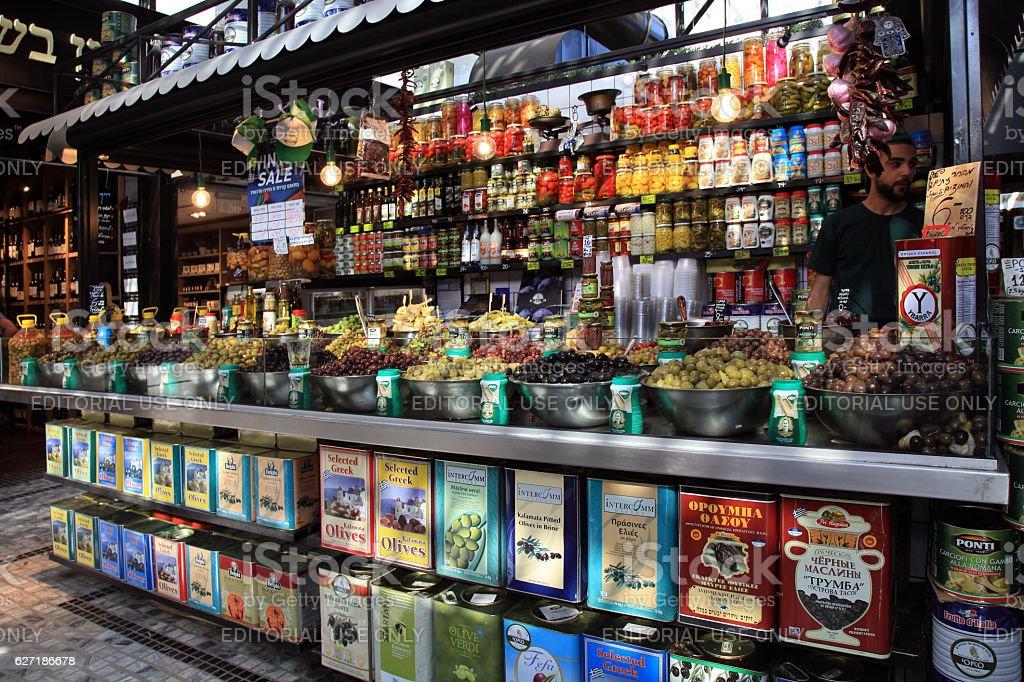 Assortment of marinated olives in Sarona Gastro Market, Tel Aviv stock photo