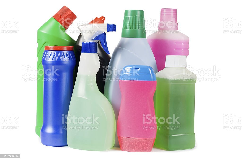 Assortment of means for cleaning isolated royalty-free stock photo
