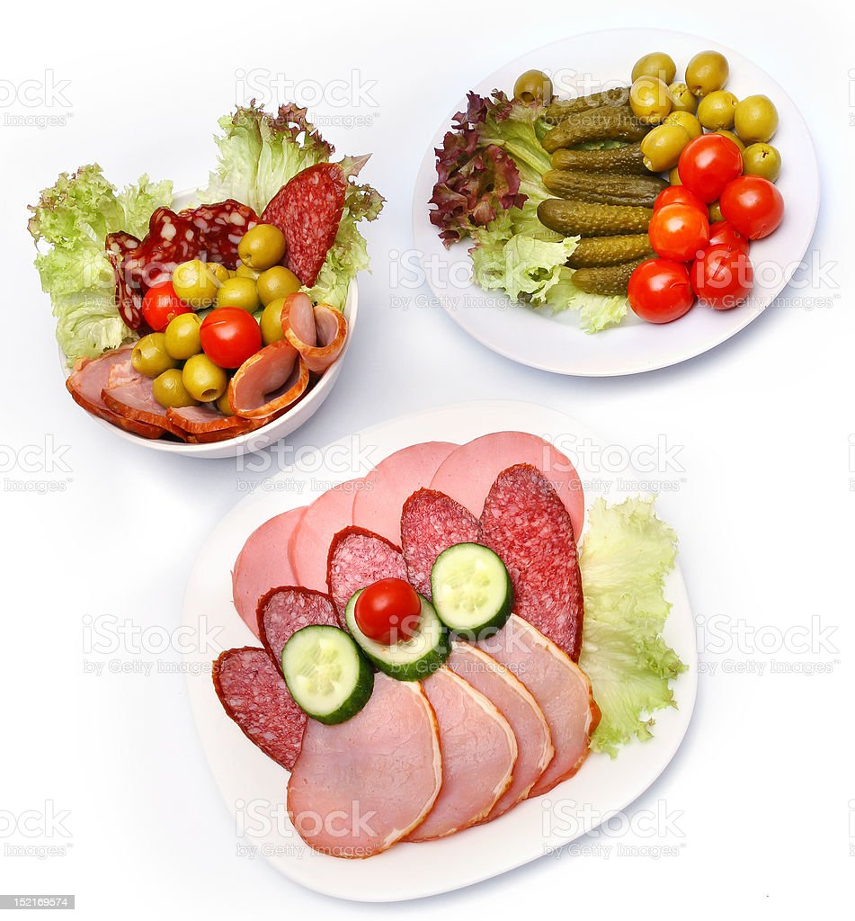 Assortment of meat and vegetable  snacks royalty-free stock photo