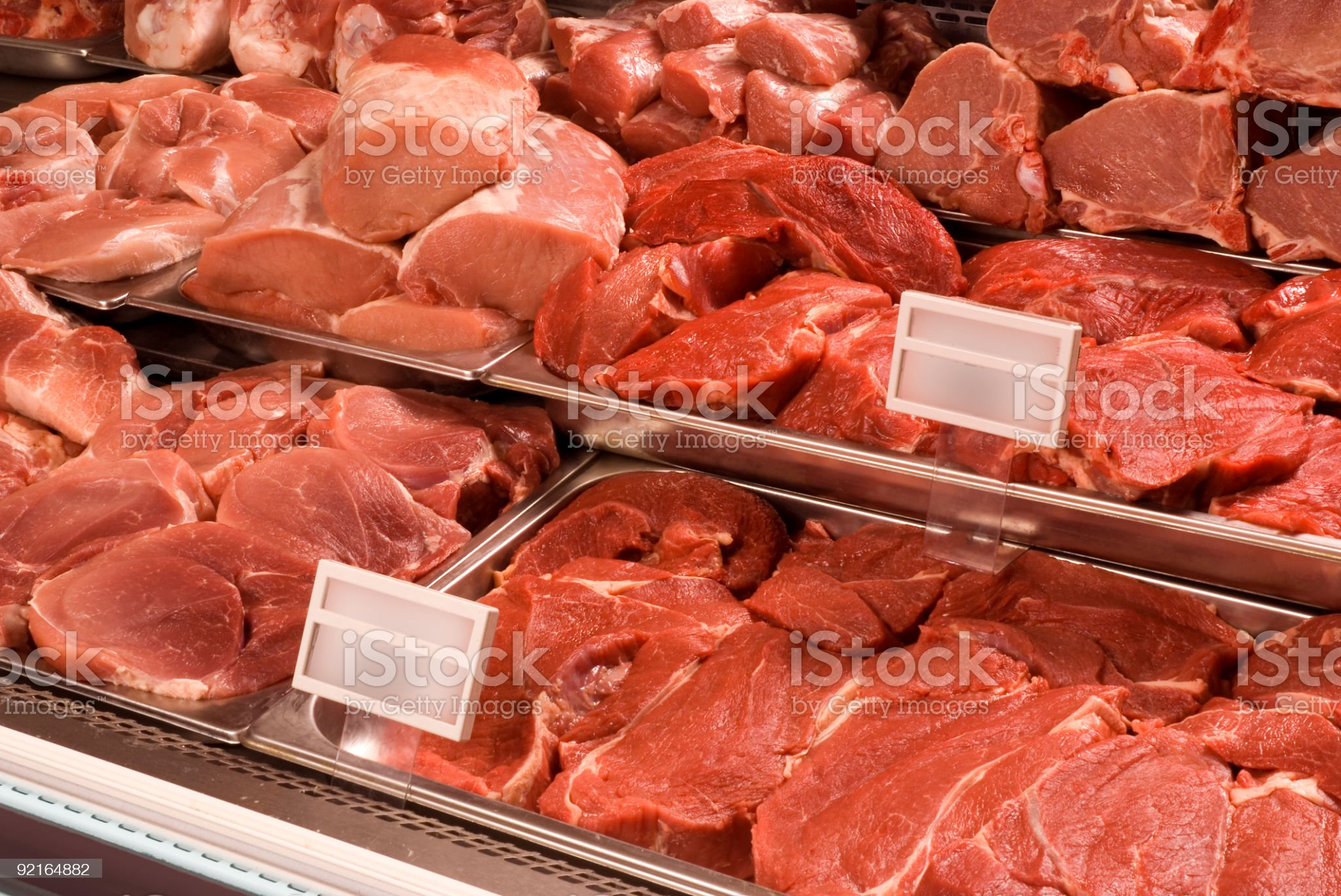 Assortment of meat at a butcher shop royalty-free stock photo