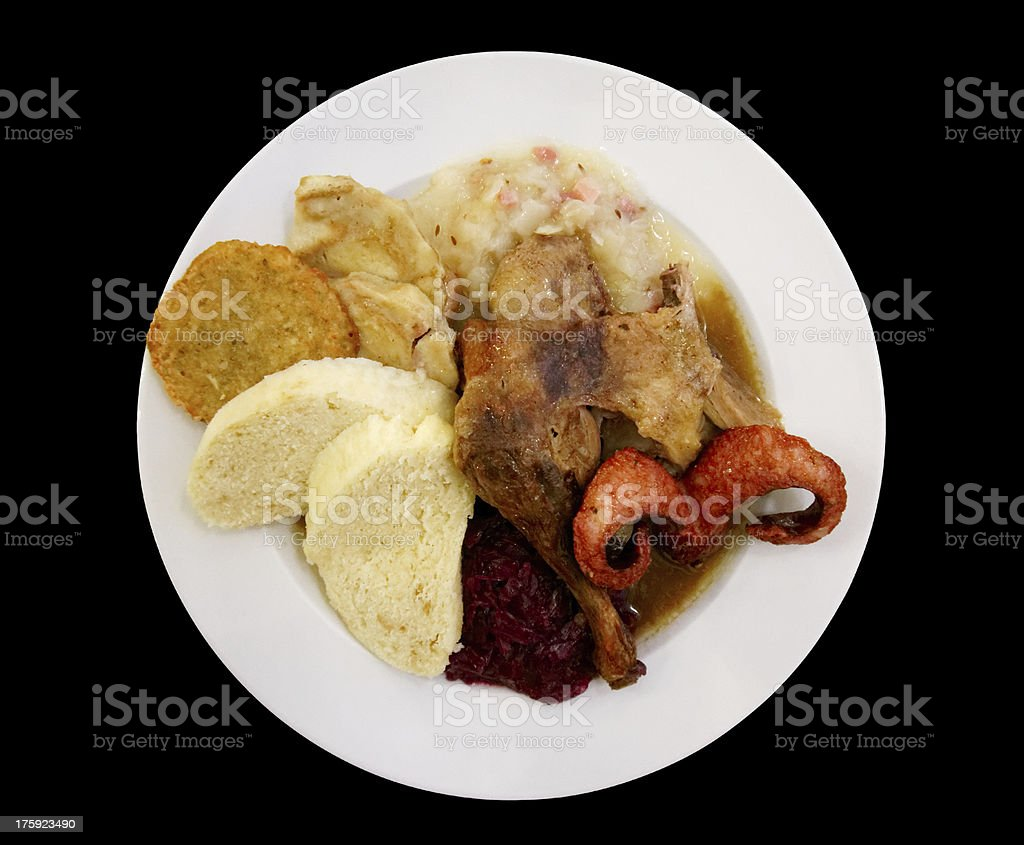Assortment of meats, turkey and sauerkraut royalty-free stock photo
