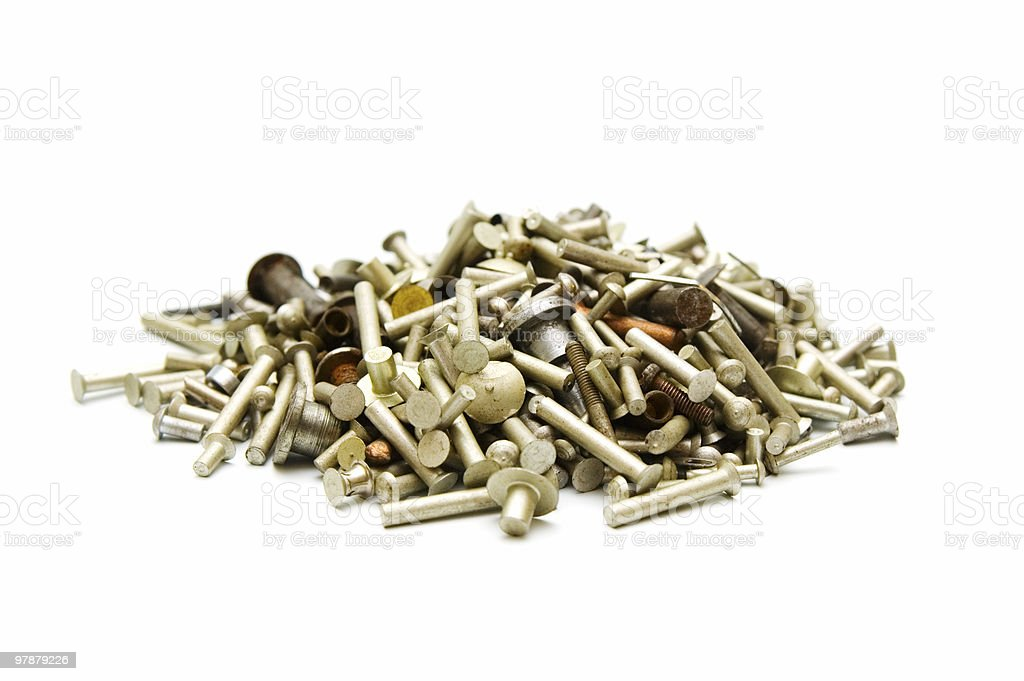 Assortment of  metal fasteners royalty-free stock photo