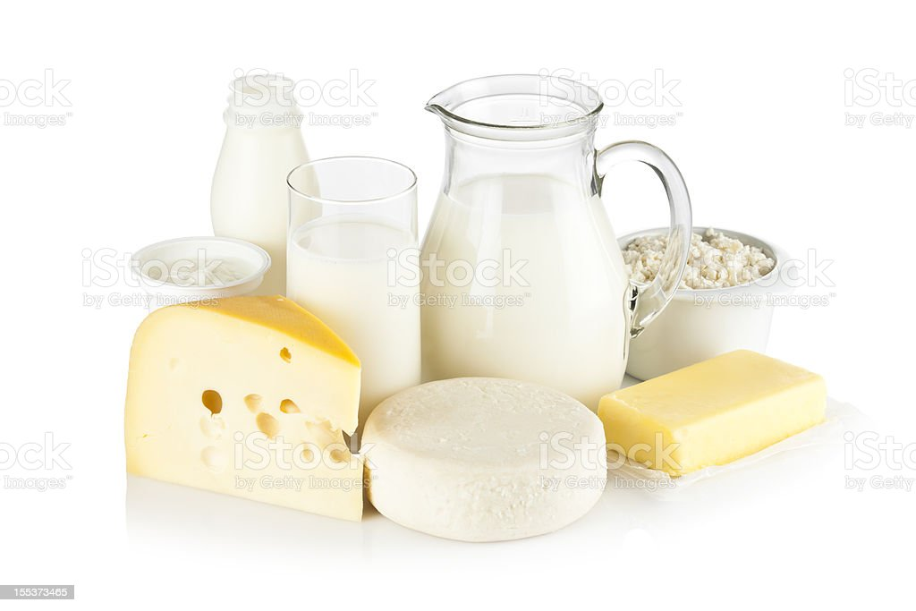 Assortment of most common dairy products on white backdrop stock photo