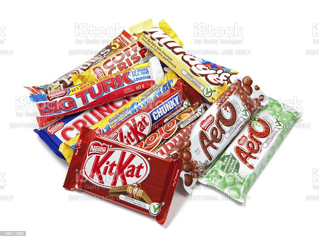 Assortment of Nestle Chocolate Products stock photo