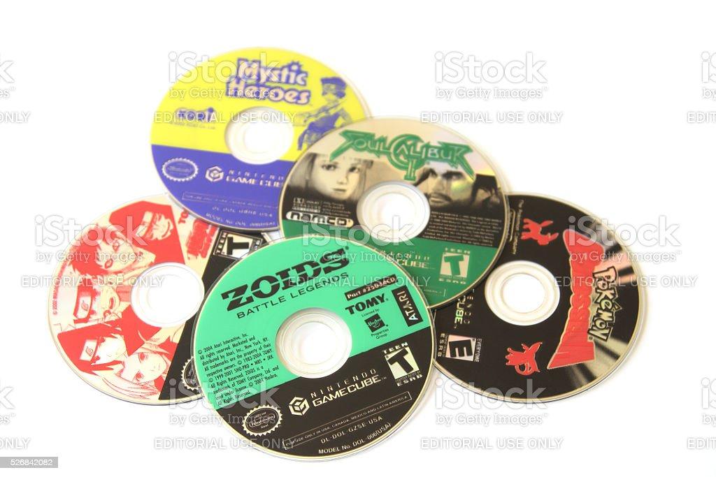 Assortment of Nintendo GameCube game discswith Zoids on top stock photo