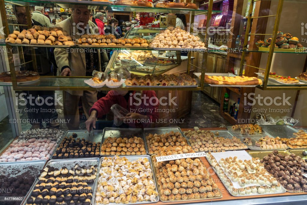 Assortment of panellets in a pastry shop stock photo