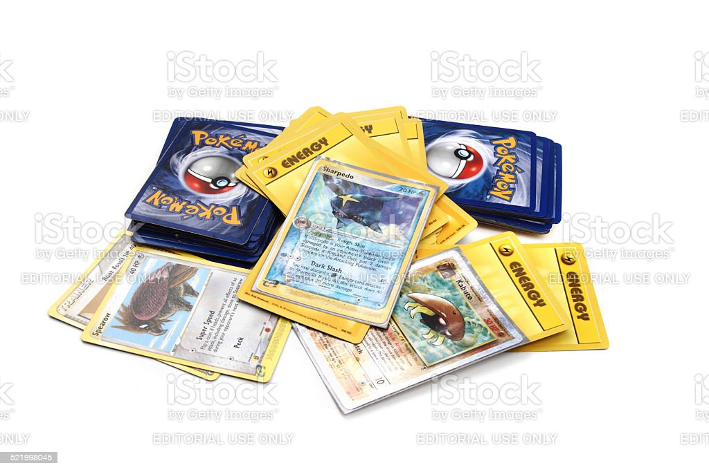 Assortment of Pokemon trading cards stock photo