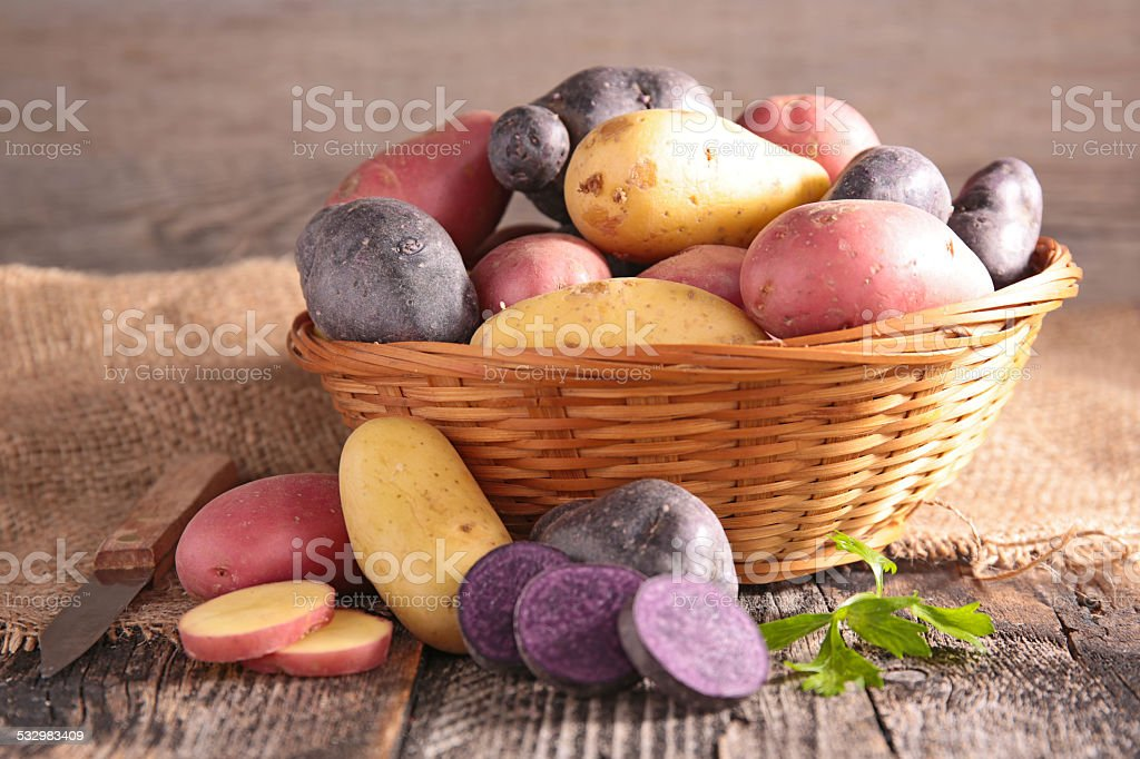 assortment of potatoes stock photo