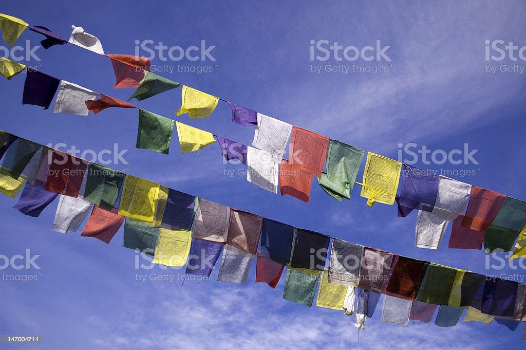 Assortiment de la prière Flags souffle dans le vent photo libre de droits