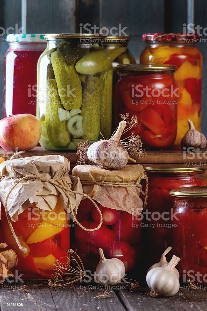 Assortment of preserved food stock photo