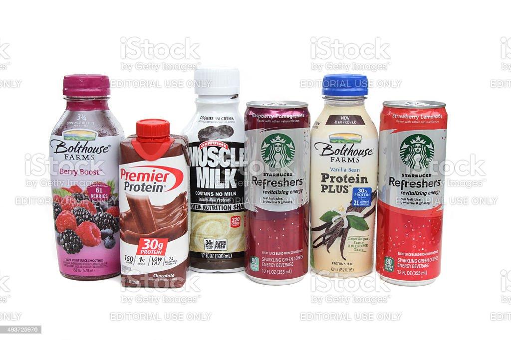 surtido de protenas y bebidas energticas foto de stock libre de derechos