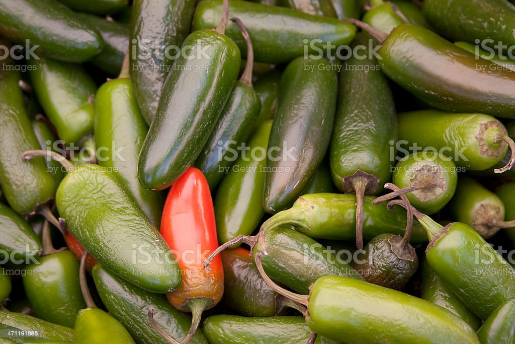 Assortment of Raw Green, Red Chili Peppers at Market, Background royalty-free stock photo