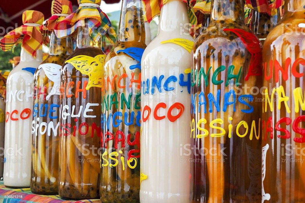 Assortment of rhum bottles at the market stock photo