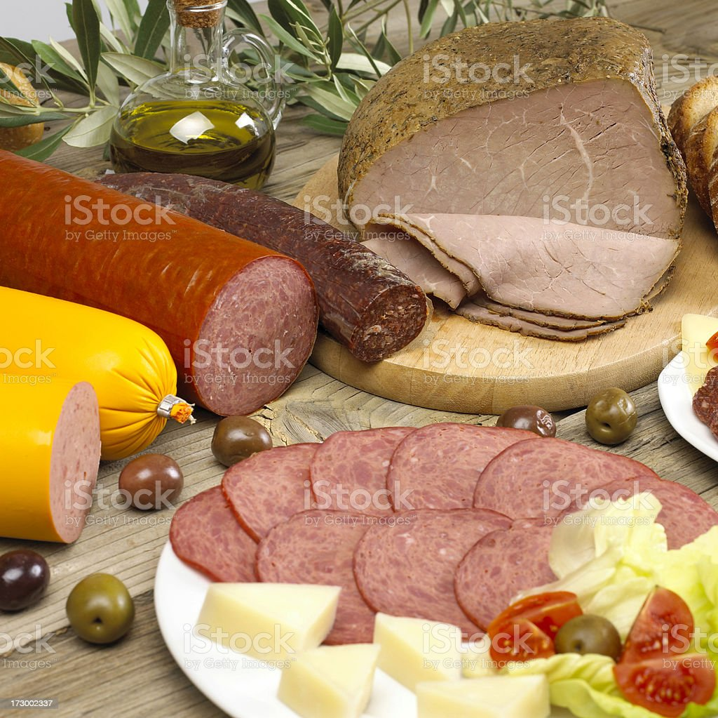 Assortment of sausages royalty-free stock photo