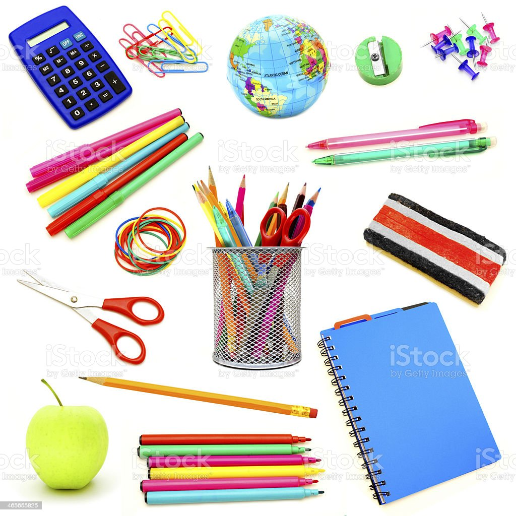 Assortment of school supplies isolated on white stock photo