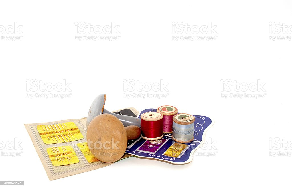 Assortment Of Sewing Needles And Darning Tools stock photo