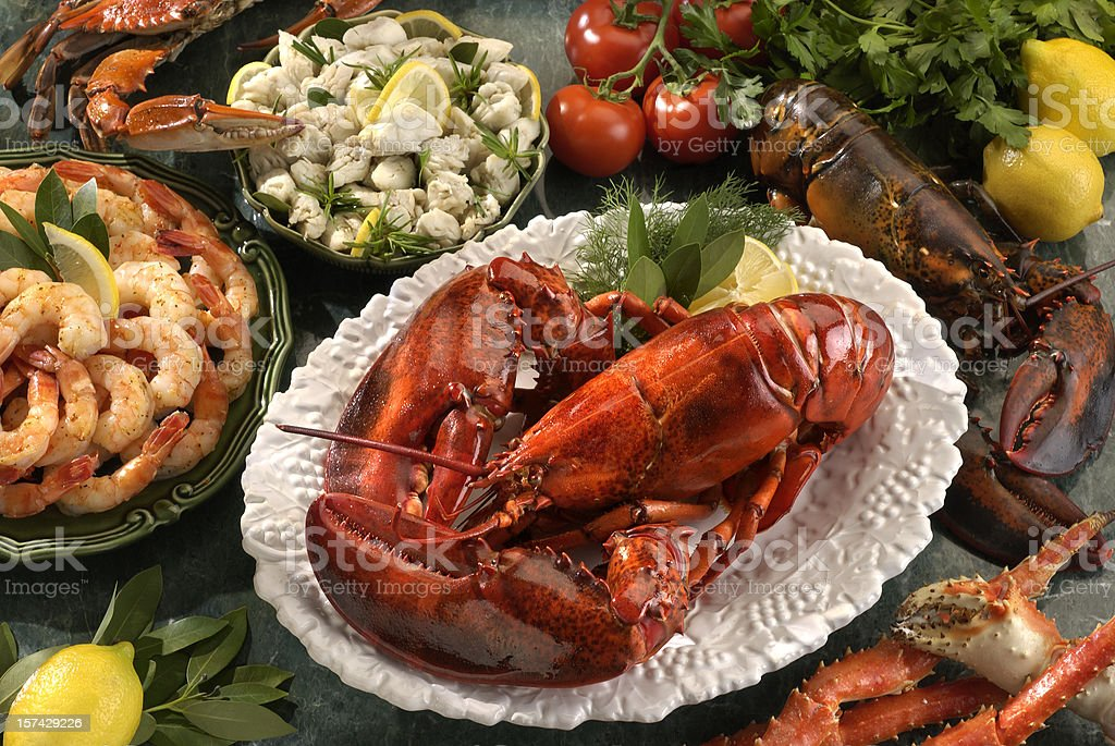 Assortment of  Shellfish Seafood stock photo
