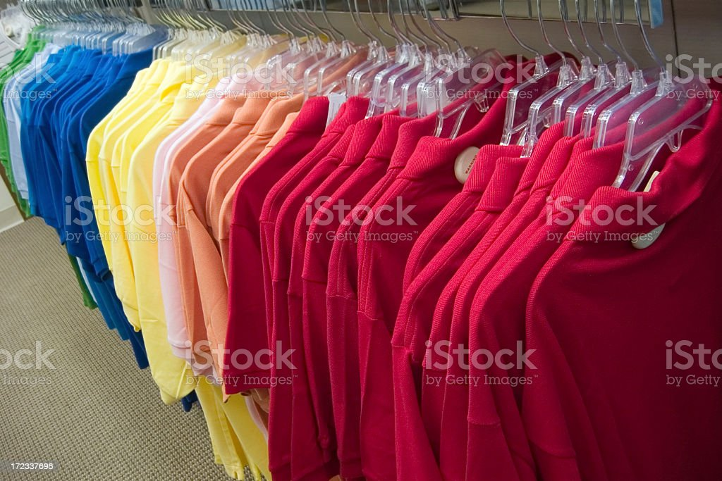 Assortment of shirts for men from the upscale store royalty-free stock photo