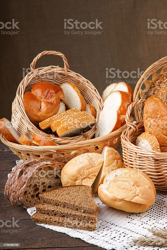 Assortment of sliced handmade bread stock photo
