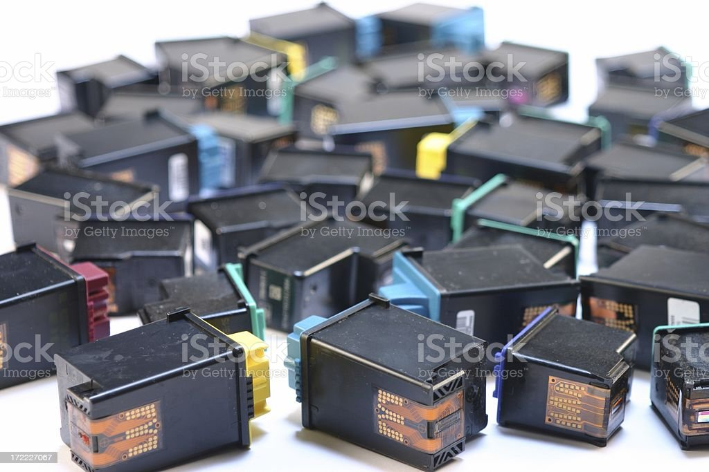 Assortment of small Ink printer Cartridges to Recycle stock photo