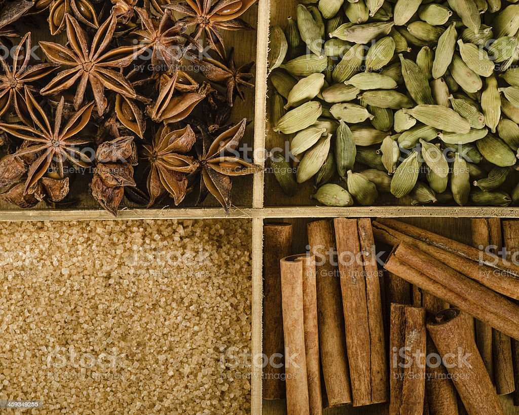 Assortment of spices in the box stock photo