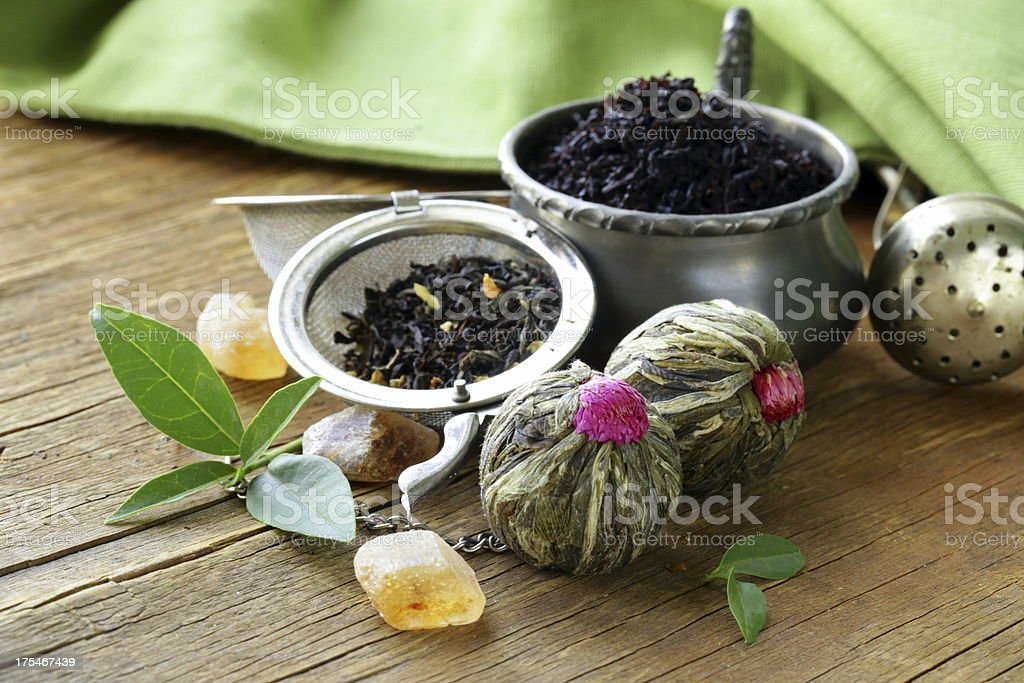 assortment of tea - black leaf, green, exotic royalty-free stock photo