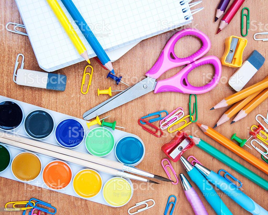 assortment of various school items stock photo