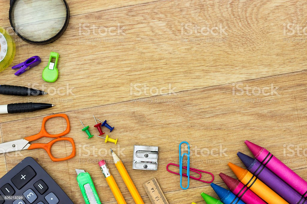 Assortment of various school items stock photo