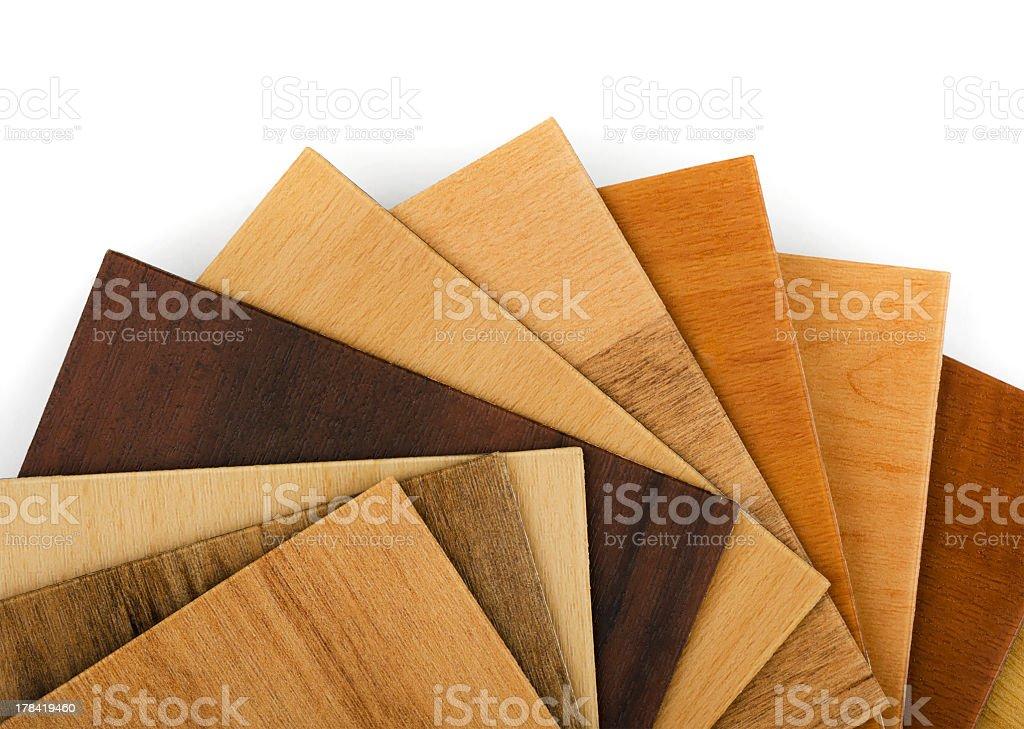 Assortment of wood flooring samples stock photo